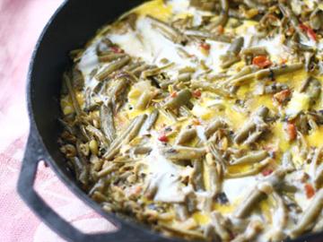 Lobya chigirtmasi - Green beans and egg