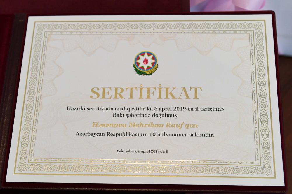 Azerbaijan's 10 millionth citizen