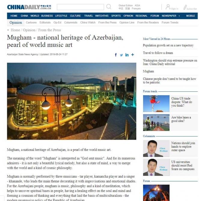 Mugham - national heritage of Azerbaijan