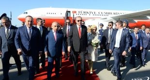 Turkish President Recep Tayyip Erdogan arrives in Azerbaijan for visit