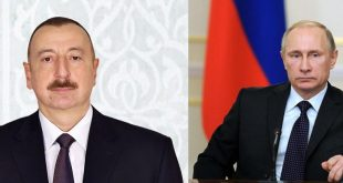 President Ilham Aliyev calls Russia's Vladimir Putin