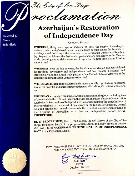 October 18 as 'Azerbaijan Day'
